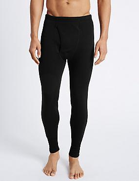 Wool Blend Thermal Long Pants, BLACK, catlanding