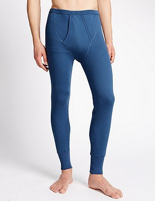2in Longer Cotton Rich Thermal Long Pants, BLUE, catlanding