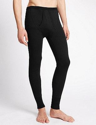 Cotton Rich Thermal Long Pants, BLACK, catlanding