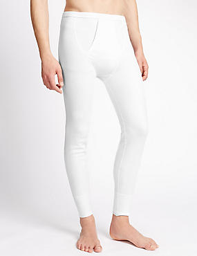 Cotton Rich Thermal Long Pants, WHITE, catlanding