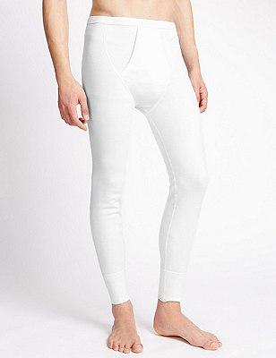 Cotton Rich Thermal Long Pants, WHITE, catlanding