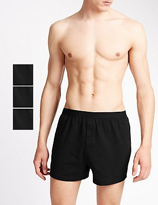 3 Pack Pure Cotton Cool & Fresh™ Boxers, BLACK, catlanding