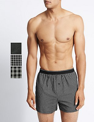3 Pack Pure Cotton Assorted Monochrome Boxers with Cool & Fresh™, BLACK MIX, catlanding
