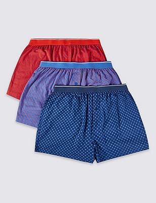 3 Pack Pure Cotton Cool & Fresh™ Spotted Boxers with StayNEW™, BLUE/RED, catlanding