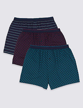 3 Pack Pure Cotton Cool & Fresh™ Boxers, DARK NAVY MIX, catlanding