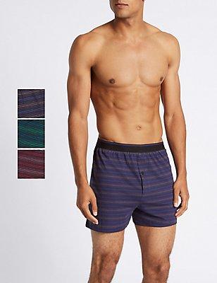 3 Pack Pure Cotton Striped Boxers, MULTI, catlanding