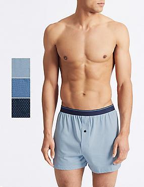 3 Pack Pure Cotton Geometric Print Boxers, AZURE BLUE, catlanding