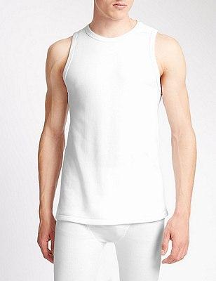 Sleeveless Cotton Rich Thermal Vest, WHITE, catlanding