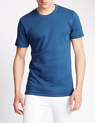 Short Sleeve Cotton Rich Thermal Vest, BLUE, catlanding
