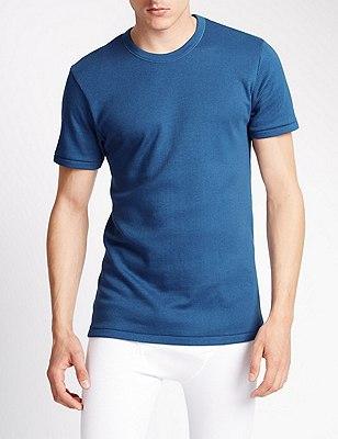 Short Sleeve Cotton Rich Thermal Vest, BLUE, catlanding