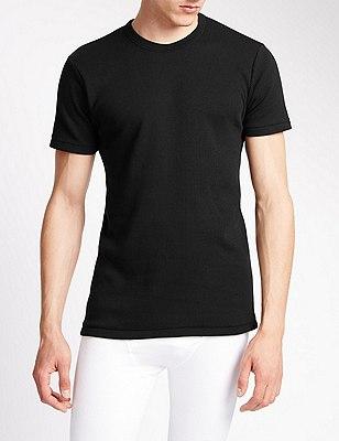 Short Sleeve Cotton Rich Thermal Vest, BLACK, catlanding