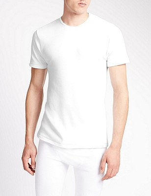 Short Sleeve Cotton Rich Thermal Vest, WHITE, catlanding