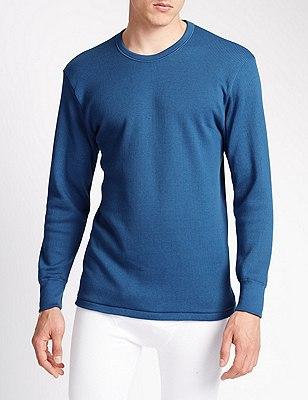 Long Sleeve Cotton Rich Thermal Vest, BLUE, catlanding