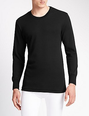 Long Sleeve Cotton Rich Thermal Vest, BLACK, catlanding