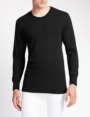 Long Sleeve Cotton Rich Thermal Vest, BLACK, catlanding