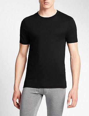 2 Pack Heatgen™ Short Sleeve Thermal Vest, BLACK, catlanding