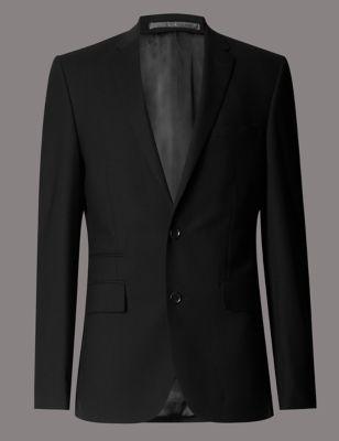 Шерстяной приталенный пиджак Black с 2 пуговицами Autograph T150533A