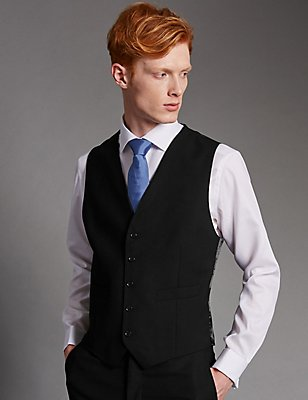 Black Tailored Fit Wool Waistcoat, BLACK, catlanding