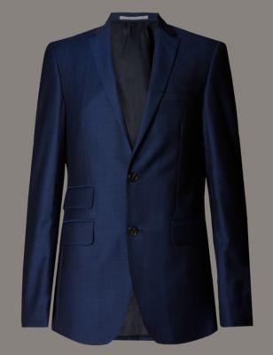Шерстяной приталенный пиджак Blue с 2 пуговицами Autograph T150537A