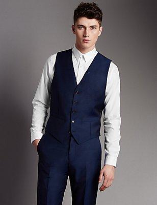 Blue Tailored Fit Wool Waistcoat, BLUE, catlanding