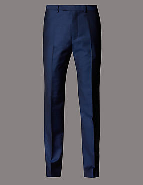 Big & Tall Blue Tailored Fit Wool Trousers, BLUE, catlanding
