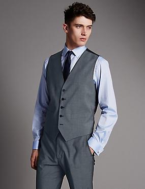 Grey Tailored Fit Wool Waistcoat, GREY, catlanding