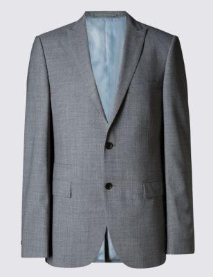 Слегка приталенный пиджак из шерсти с лацканами острым углом