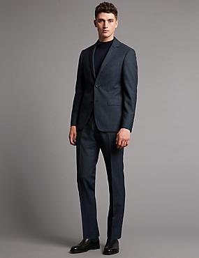 Blue Textured Tailored Fit Wool Jacket, DENIM, catlanding