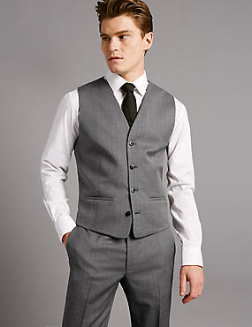 Grey Textured Tailored Fit Wool Waistcoat, GREY, catlanding