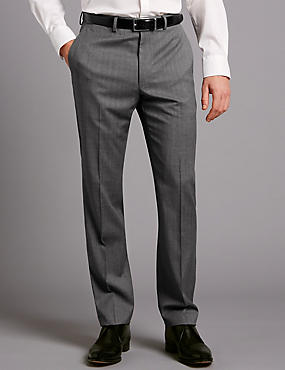 Big & Tall Grey Tailored Fit Wool Trousers, GREY, catlanding
