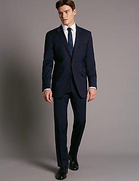 Big & Tall Navy Wool Rich Jacket with Lycra, NAVY, catlanding