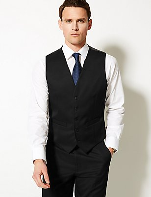 Black Regular Fit Waistcoat, BLACK, catlanding