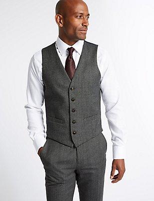 Grey Textured Slim Fit Waistcoat, GREY, catlanding
