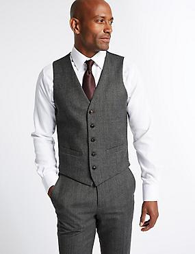 Gilet de costume gris coupe cintrée à motif texturé, GRIS, catlanding