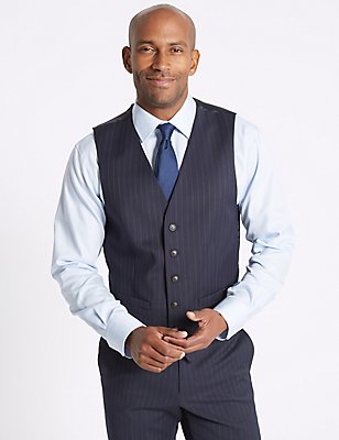 Navy Striped Tailored Fit Waistcoat, NAVY, catlanding