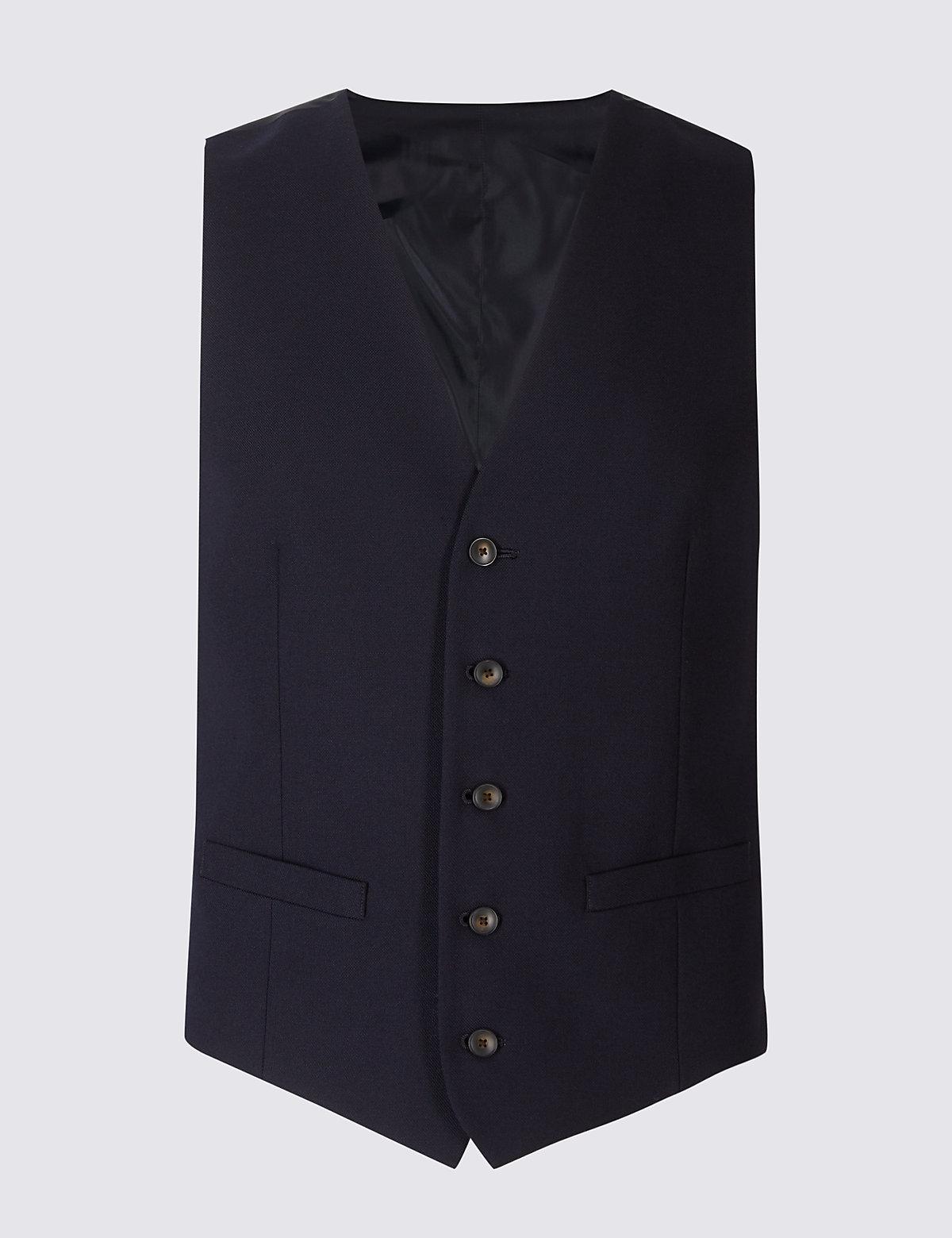 Жилет мужской текстурированный с подкладкой и добавлением шерсти M&S Collection. Цвет: темно-синий