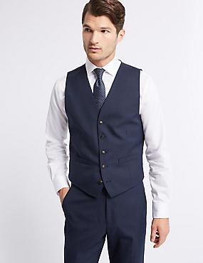 Gilet de costume indigo coupe standard à motif texturé, INDIGO, catlanding