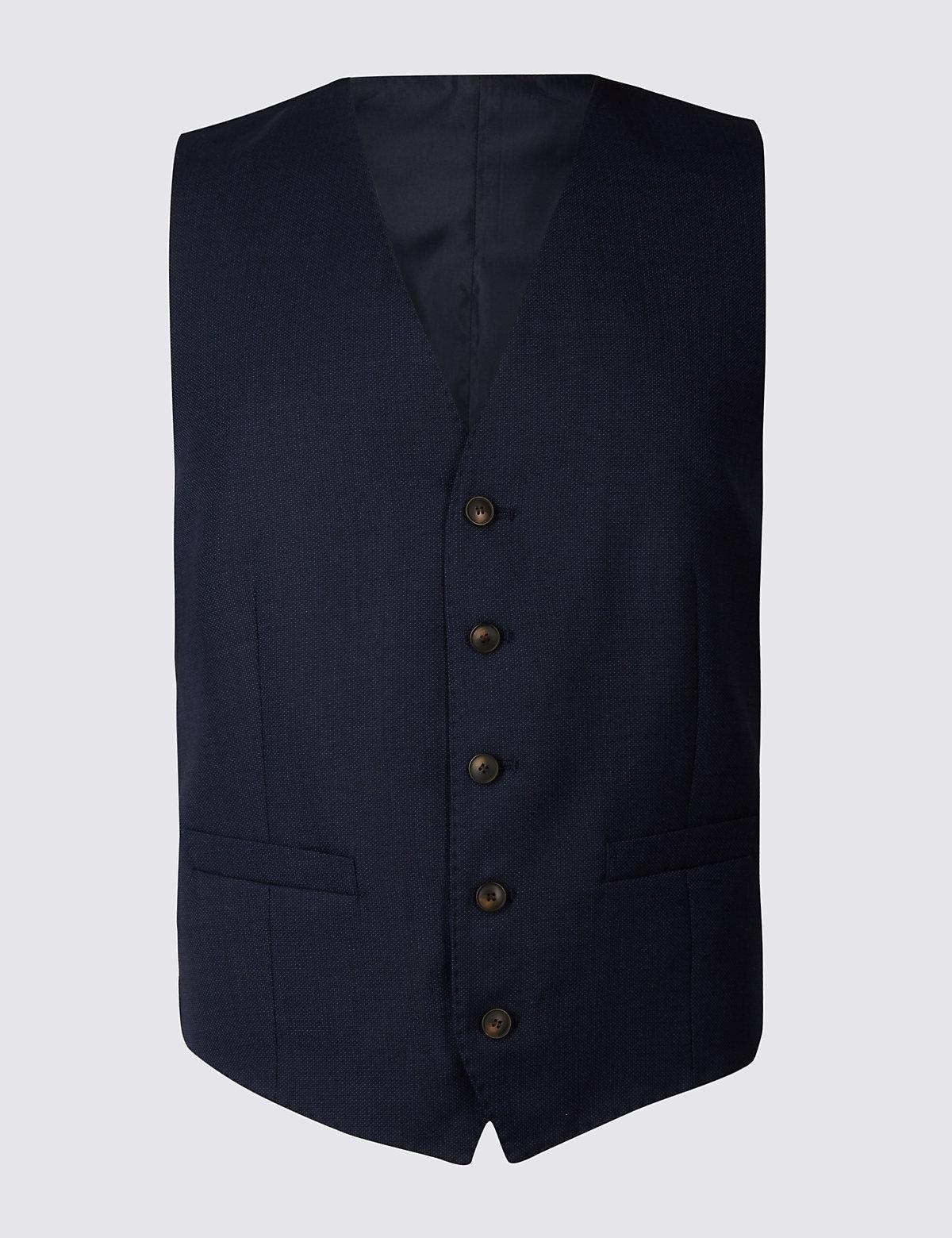 Мужской текстурированный жилет с добавлением шерсти M&S Collection. Цвет: индиго