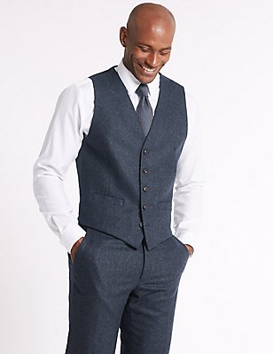 Wool Blend Tailored Fit Waistcoat, DENIM, catlanding