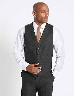 Charcoal Textured Tailored Fit Waistcoat, CHARCOAL, catlanding
