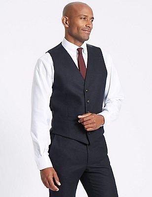 Navy Textured Tailored Fit Waistcoat, NAVY, catlanding