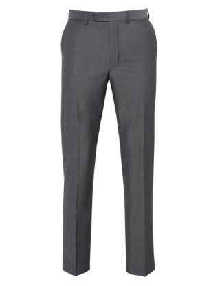 Flat Front Trousers with Wool Clothing