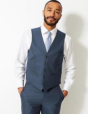 Gilet de costume indigo coupe cintrée, INDIGO, catlanding