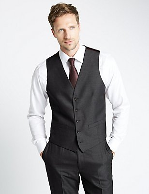 Charcoal Tailored Fit Waistcoat, CHARCOAL, catlanding