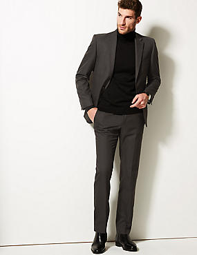 Big & Tall Charcoal Tailored Fit Trousers, CHARCOAL, catlanding