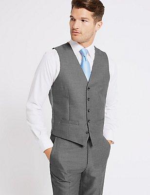 Textured Slim Fit Waistcoat, GREY, catlanding