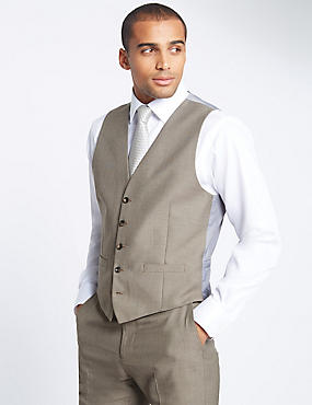 Brown Tailored Fit Waistcoat, TAUPE, catlanding