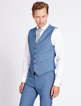 Blue Textured Tailored Fit Waistcoat, BLUE, catlanding