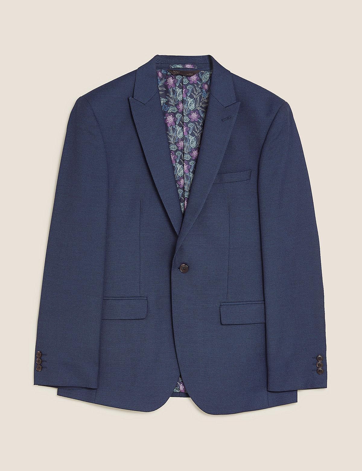 Синий текстурированный узкий пиджак