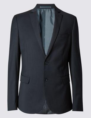 Приталенный пиджак на 2 пуговицах из саржевого полотна с добавлением шерсти